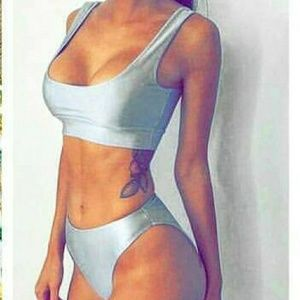 Other - Sporty Silver Crop Top & Bikini Bottom Swimsuit